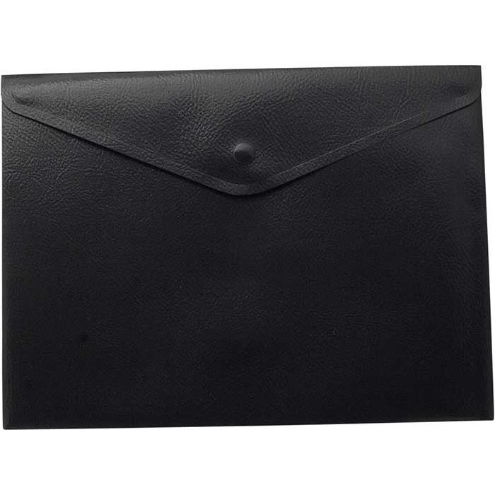Папка-конверт А5 на кнопке, прозрачная, черная 6шт в упак. /12/60/