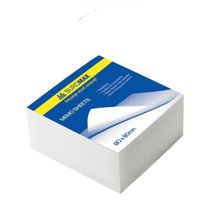 Блок белой бумаги для заметок JOBMAX 80х80х20мм, скл., 5шт.в уп.