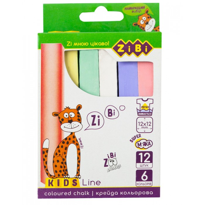 Крейда кольорова квадратна 12 шт., картонна коробка, KIDS Line
