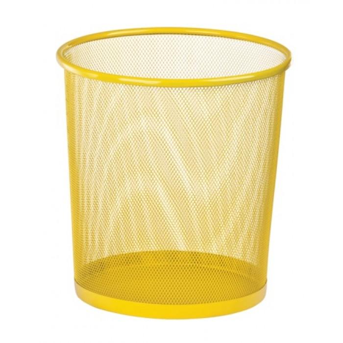 Корзина для паперів кругла 265x265x280мм, металева, жовтий